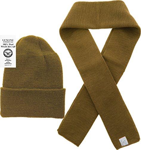 (US Army Genuine GI Military 100% Wool Scarf & USN Wool Hat Watch Cap (2 Piece Set) (Coyote Brown))