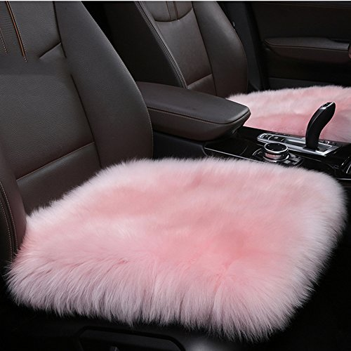Authentic Sheepskin 19.3 inch Car Interior Seat Cover, U&M Soft Fluffy Long Wool Seat Cushion Pad Winter Mat Universal Fit for Comfort in Auto, Plane, Office, or Home