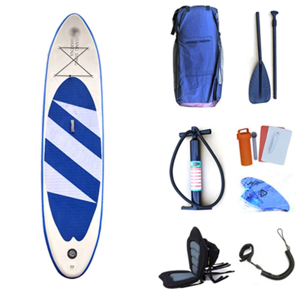 インフレータブルスタンドアップパドルボードキット 青少年ウォータースポーツインフレータブルスタンドアップパドルボード軽量SUPサーフボードセット(ツーリング、サーフィン、ウォーターヨガ、レーシング用) コンプリートキット (色 : 青 with seat, サイズ : 320x76x15cm) 青 with seat 320x76x15cm