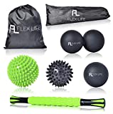 Flex Life Massage Ball Set & Muscle Roller Stick Massager - 2 Spiky Ball, 1 Lacrosse Ball, 1 Peanut Ball, (1) 18'' Roller Stick. Great Rollers For Plantar Fasciitis, Mobility, Recovery, Soreness