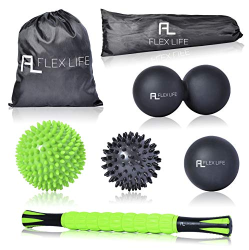 Flex Life Massage Ball Set & Muscle Roller Stick Massager - 2 Spiky Ball, 1 Lacrosse Ball, 1 Peanut Ball, (1) 18