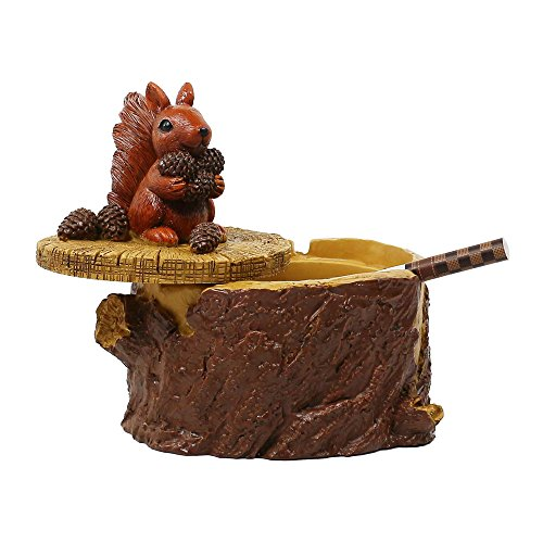SEA or STAR Outdoor Ashtrays for Cigarettes Cute Resin Squirrel Ashtray with Lid for Home and Garden