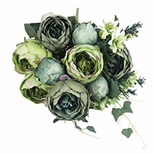 JAROWN 9 Heads Artificial Oil Painting Peony Silk Flowers Bouquet Faux Leaves Flora for Living Room Decoration(Dark Green) 9