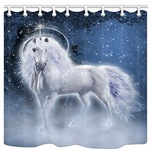 NYMB Fairytale Animals Kids Shower Curtain, Fantasy Unicorn in Magic Forest with Starry Sky Home Decor, Polyester Fabric Waterproof Bath Curtain for Bathroom, 69X70in, Shower Curtains Hooks Included -