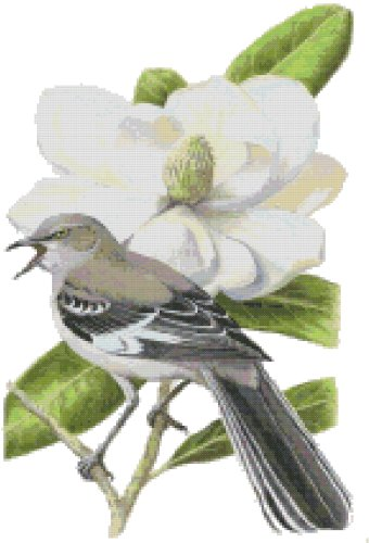 Mississippi State Bird (Northern Mockingbird) and Flower (Magnolia) Counted Cross Stitch Pattern