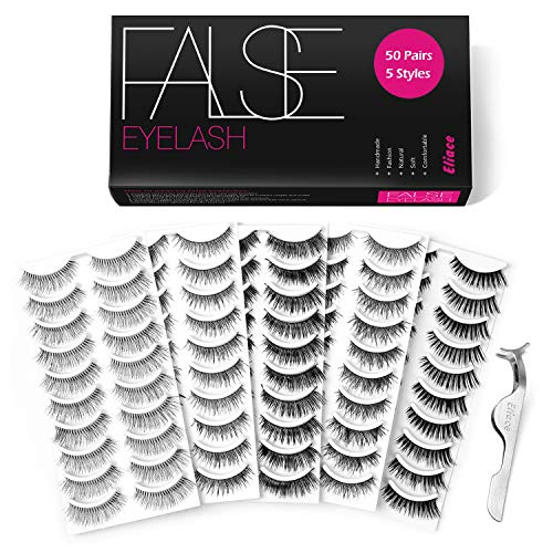 Eliace 50 Pairs 5 Styles Lashes Handmade False Eyelashes Set Professional Fake Eyelashes Pack,10 Pairs Eyes Lashes Each Style,Very Natural Soft and Comfortable,With Free EyeLash ()