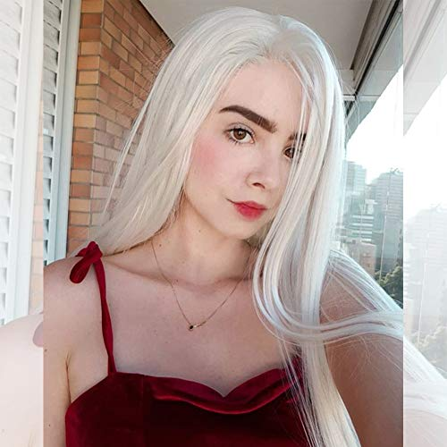 Musegetes Fashion Platinum Blonde Synthetic Lace Front Wigs Heat Resistant Long Natural Straight White Blonde Wigs Cosplay for White Women -