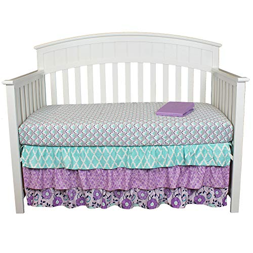 Zoe Purple Floral 3 Piece Baby Girl Crib Bedding Set with 3 Tier Dust Ruffle