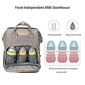 3 in 1 Diaper Bag Backpack with with Changing Station,Multifunction Bag Include Changing Pad & Stroller Straps,Portable…