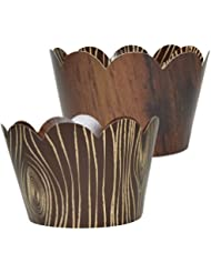 Wood Grain Cupcake Wrappers, Lumberjack Theme, Woodsy Rustic Wedding Decorations, Confetti Couture Party Supplies, 36 Cupcake Holders