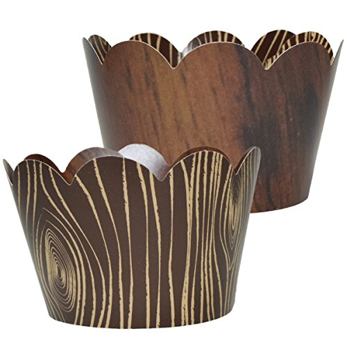 Wood Grain Cupcake Wrappers, Lumberjack Theme, Woodsy Rustic Wedding Decorations, Confetti Couture Party Supplies, 36 Cupcake Holders ()