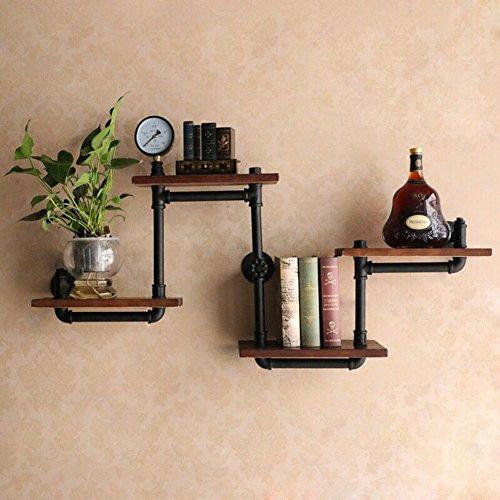 WYZ DIY Industrial Retro Wall Mount Iron Pipe Shelf Storage Shelving Bookshelf by wyz