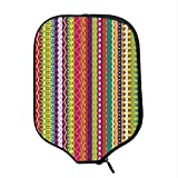 YOLIYANA Striped Durable Racket Cover,Vertical Lined Bound Striped Mix Shapes with Ethnic Influences Vintage Vivid Graphic for Sandbeach,One Size