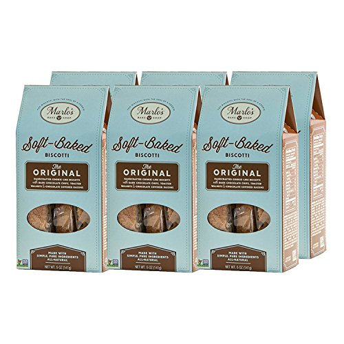 Marlo's Bakeshop Walnut Chocolate Chip Soft-Baked Biscotti - Original Flavor - Gourmet, non-GMO, Wholesome Indulgence (6 Pack)