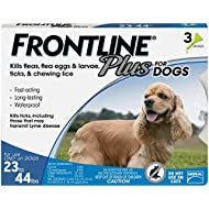Frontline Plus for Dogs Medium Dog (23-44 pounds) Flea and Tick Treatment, 3 Doses