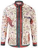 Pizoff Mens Long Sleeve Luxury Red-Green Print Dress Shirt Y1792-24-XL