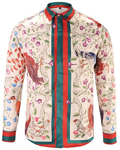 PIZOFF Mens Long Sleeve Luxury Red-Green Print Dress Shirt Y1792-24-S