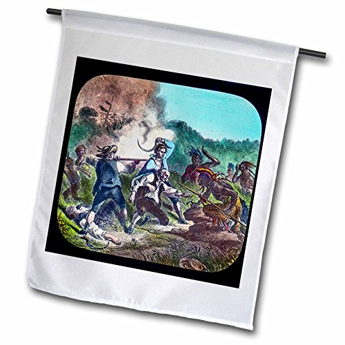 Battle Flag Square (3dRose Scenes from the Past Magic Lantern Slides - French and Indian War American Military History Battle - 18 x 27 inch Garden Flag (fl_270049_2))