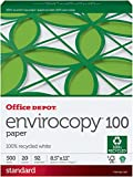 Office Depot 100% Recycled EnviroCopy Copy Fax Laser Inkjet Printer Paper, 8 1/2 x 11 inch Letter Size, 20 Lb., 92 Bright White, FSC Certified, Ream, 500 Total Sheets (819303)
