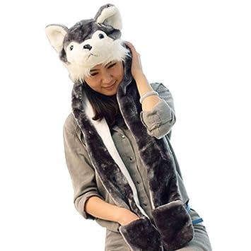 Chapeau Femme Bonnet Enfant Fille Garcon Hiver avec un Foulard de Gants  Chaud Motif Animal Chapeau 99c2be85adf