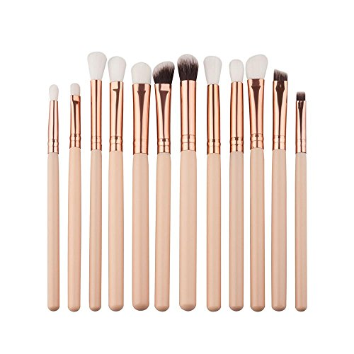 D-XinXin Makeup Brush Set Professional Face Eye Shadow Eyeliner Foundation Blush Lip Makeup 12Pieces Brushes Powder Liquid Cream Cosmetics Blending Brush Tool (Beige)