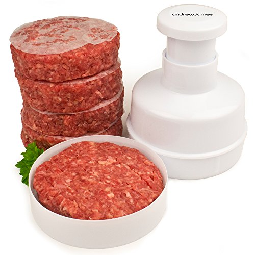 Andrew James Beefburger Press for Homemade Burgers | Hamburger Presser with 100 Wax Discs | Dishwasher Safe | Perfect for Barbecues