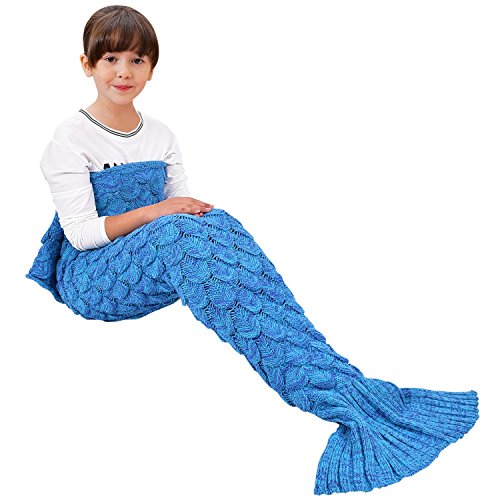 Pirate Mermaid Costumes (Handmade Mermaid Tail Blanket Crochet , Ibaby888 All Seasons Warm Knitted Bed Blanket Sofa Quilt Living Room Sleeping Bag for Kids and Adults(Kids / 55.1