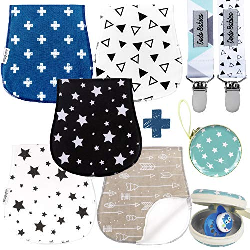 Baby Burp Cloths Pack of 5 by Dodo Babies + 2 Pacifier Clips + Pacifier Case in a Gift Bag, Premium Quality Unisex Boy or Girls Soft and Absorbent, Excellent Baby Shower/Registry Gift from Dodo Babies