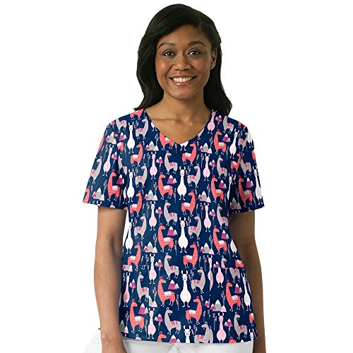 WonderWink Womens Printed V Neck Top