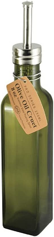 Grant Howard Pro Series Olive Oil Glass Cruet, 8 oz, Green and Silver: Kitchen & Dining