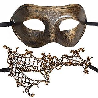 7queen couples masquerade mask vintage bronze gold venetian halloween costume party decor men women mask mardi