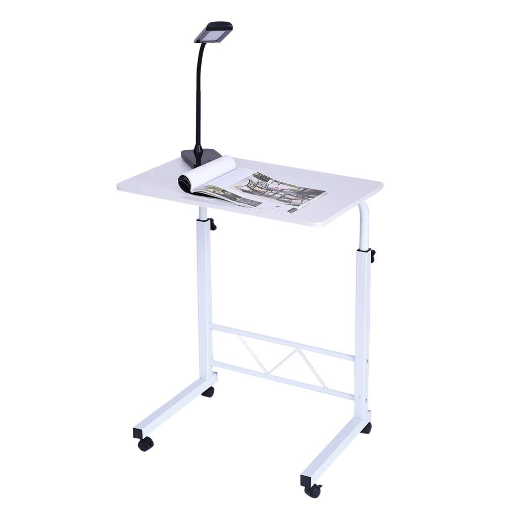 WONdere Home Office Chair Can Be Lifted And Lowered Mobile Computer Desk Bedside Table, Crank Adjustable Sit to Stand Up Desk with Heavy Duty Steel Frame (C)