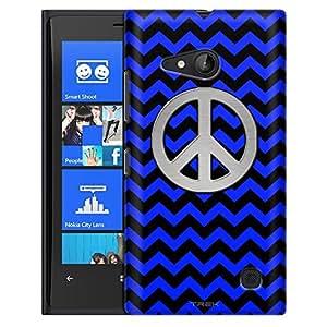 Nokia Lumia 730 Case, Slim Fit Snap On Cover by Trek Peace on Chevron Zig Zag Blue Black Case