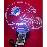 Miami Dolphins NFL Light Up Lamp LED Personalized Free Football Light Up Desk Light Lamp LED Table Lamp, Our Newest Feature - Its WOW, With Remote, 16 Color Options, Dimmer, Free Engraved, Great Gift