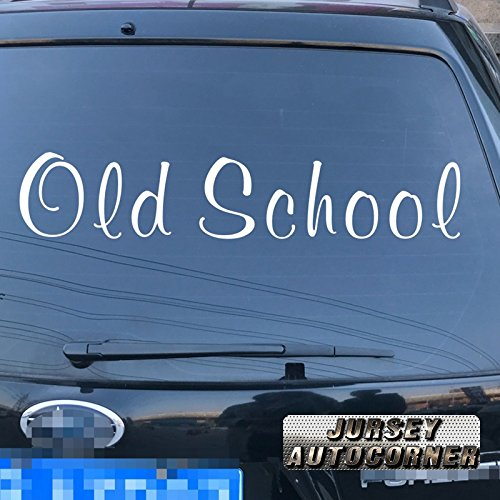 - Jursey Auto Old School letters Decal Sticker Car Vinyl pick size color die cut no background (white, 6'' (15.2cm))