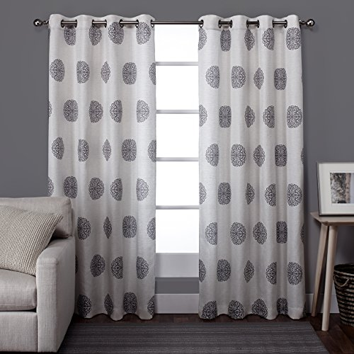 Contemporary Panel (Exclusive Home Curtains Sedgewick Linen Grommet Top Window Curtain Panel Pair, Black Pearl, 54x84)
