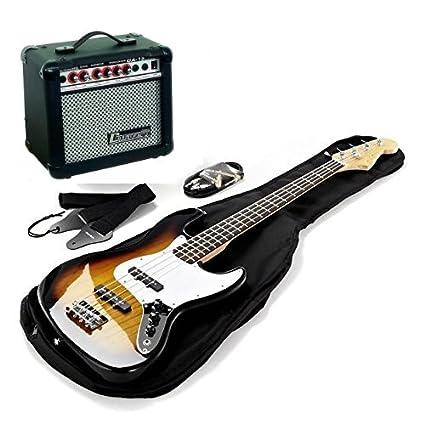 Kit bajo eléctrico Harley Benton completo de amplificador y accesorios.