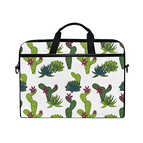 White Vintage Orchid Cactus Laptop Briefcase,15-15.4 Inch Laptop Bag,Business Office Bag Men Women,Stylish Nylon Multi-Functional Shoulder Messenger Bag Notebook Computer - Hp White And 1 Tablet Laptop 2 In