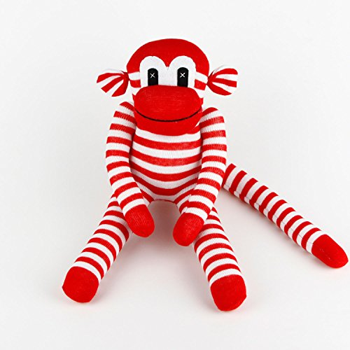 INFEI Handmade Traditional Sock Monkey Stuffed Doll for Baby Children Gift Toy, Home Decoration (Red Striped) (Baby Safe Monkey Sock)