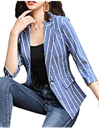 Fensajomon Women's Stripe Slim Summer 3/4 Sleeve Formal Work Blazer Jacket Suit Coat