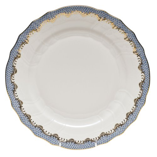 Herend Fish Scale Light Blue Porcelain Dinner Plate