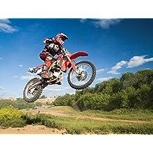J.P. London PMUR2160 Peel and Stick Removable Wall Decal Sticker Mural, Motocross Jump Excite Bike Dirt Rider, 4 X 3-Feet