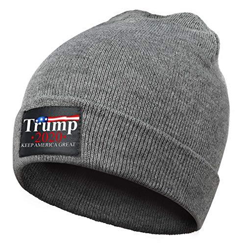 Naicissism Beanie for Men&Women, Daily Wool Beanies Unisex Winter Cuffed Plain Skull Knit Hat Cap - Trump 2020 USA Keep America Great