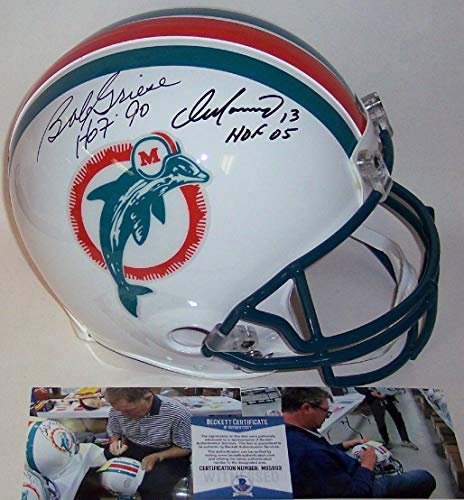 Bob Griese & Dan Marino Autographed Hand Signed Miami Dolphins Throwback Full Size Authentic Pro Helmet - BAS Beckett - Beckett ()