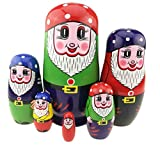 Set of 6 Cutie Gnome Dwarfs With Mushroom Cap Handmade Varnished Wooden Russian Nesting Dolls Matryoshka For Girl Gift Kids Toy Birthday Christmas New Year Home Decoration