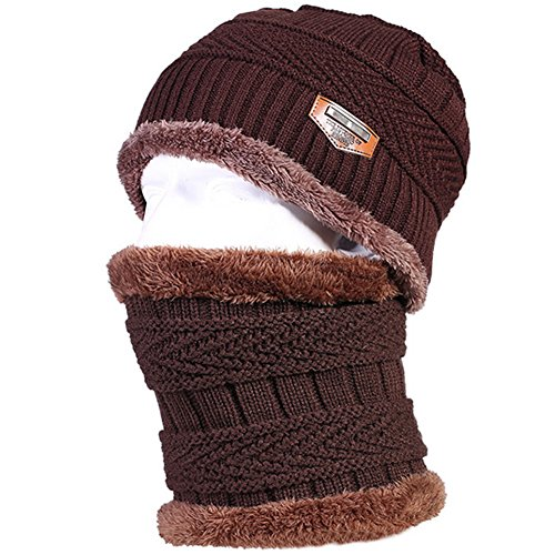 Men's Winter Knit Skull Cap Lined Thick Warm Slouchy Beanies Hat (Coffee with Scarf)