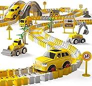 iHaHa 236PCS Construction Race Tracks for Kids Boys Toys, 6PCS Construction Car and Flexible Track Playset Cre