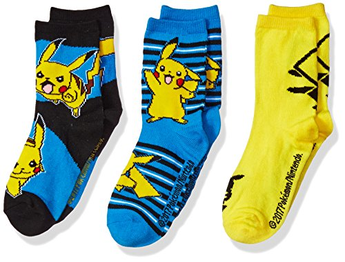 Pokemon Little Boys' 3 Pack Crew Socks, Assorted, 6-8.5 (Shoes For Pokemon Boys)