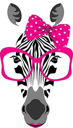 Chic Walls Removable Zebra Glasses Lipstick Bow Wall Art