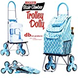 dbest products Bigger Trolley Dolly Stair Climber, Moroccan Tile Grocery Foldable Cart Condo Apartment, Light Blue